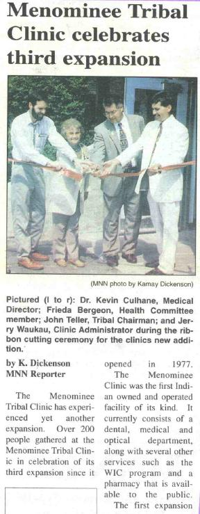 History Menominee Tribal Clinic's 3rd Expansion