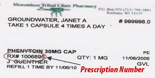 Menominee Tribal Clinic - Pharmacy - Prescription Number